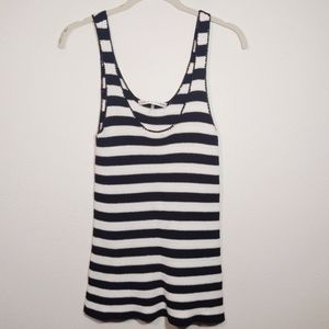Trina Turk Black & White Stripe Crochet Tank Top S